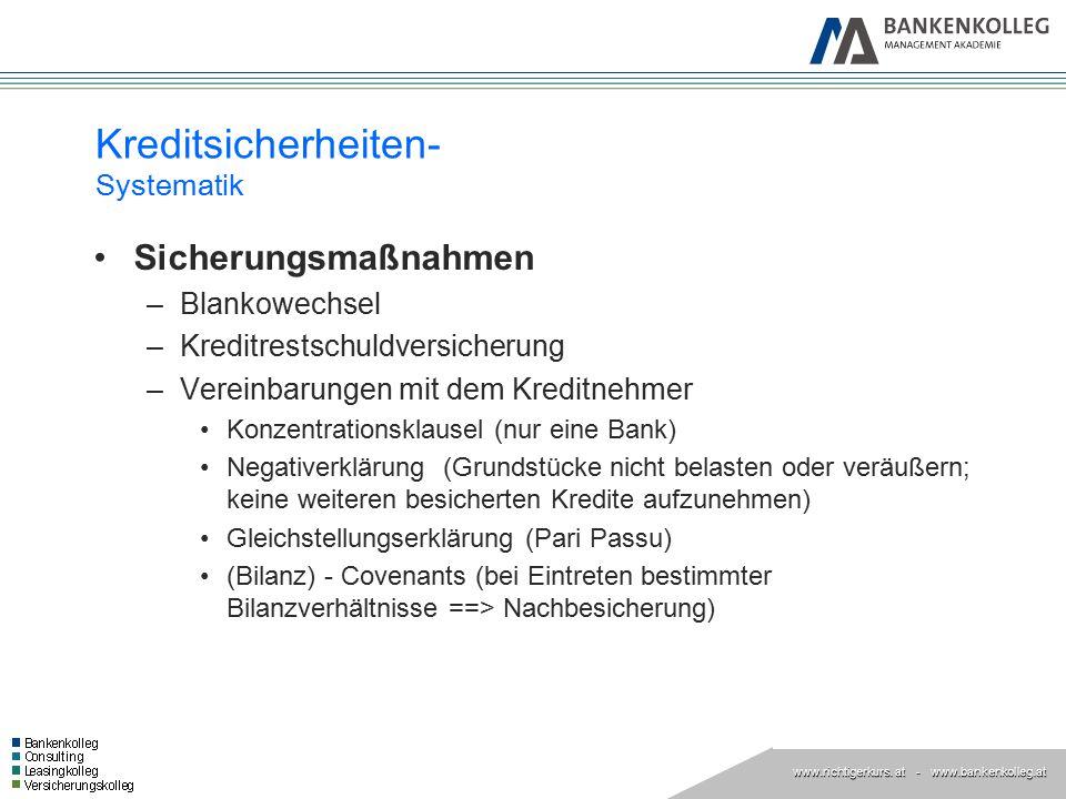 www.richtigerkurs. at www.richtigerkurs. at - www.bankenkolleg.at Kreditsicherheiten- Systematik Sicherungsmaßnahmen –Blankowechsel –Kreditrestschuldv