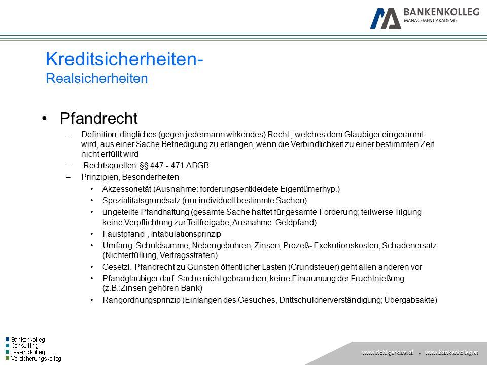 www.richtigerkurs. at www.richtigerkurs. at - www.bankenkolleg.at Pfandrecht –Definition: dingliches (gegen jedermann wirkendes) Recht, welches dem Gl