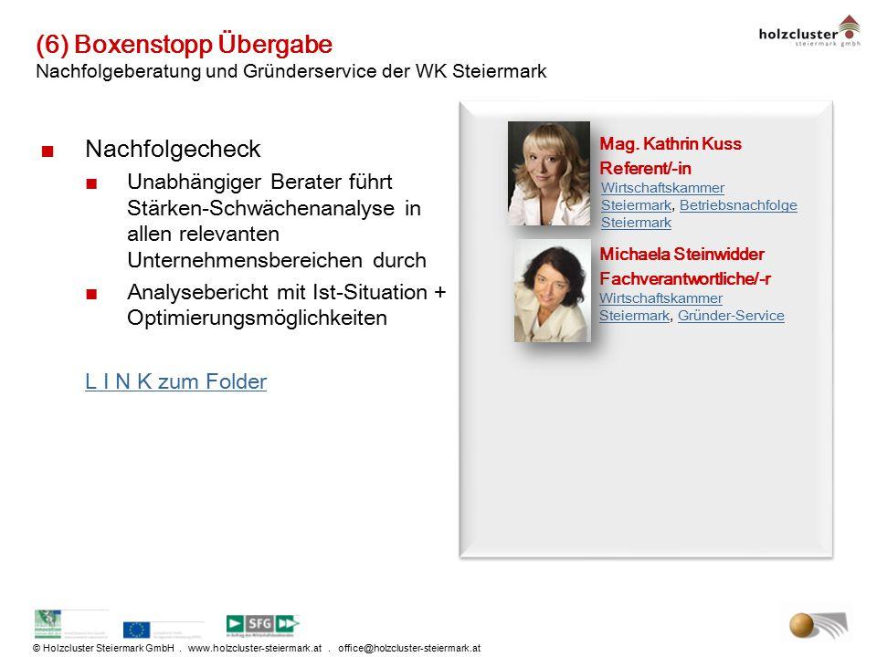 © Holzcluster Steiermark GmbH. www.holzcluster-steiermark.at. office@holzcluster-steiermark.at (6) Boxenstopp Übergabe Nachfolgeberatung und Gründerse