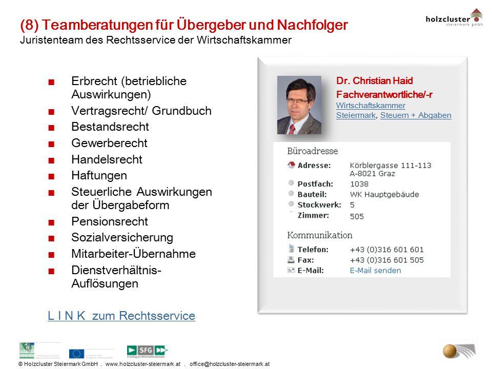 © Holzcluster Steiermark GmbH. www.holzcluster-steiermark.at. office@holzcluster-steiermark.at (8) Teamberatungen für Übergeber und Nachfolger Juriste