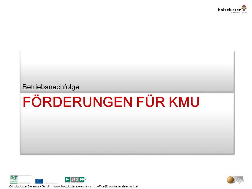 © Holzcluster Steiermark GmbH. www.holzcluster-steiermark.at. office@holzcluster-steiermark.at FÖRDERUNGEN FÜR KMU Betriebsnachfolge