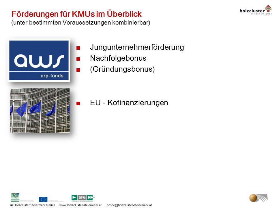 © Holzcluster Steiermark GmbH. www.holzcluster-steiermark.at. office@holzcluster-steiermark.at Förderungen für KMUs im Überblick (unter bestimmten Vor