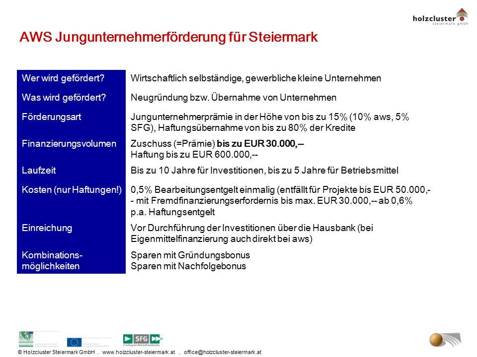 © Holzcluster Steiermark GmbH. www.holzcluster-steiermark.at. office@holzcluster-steiermark.at AWS Jungunternehmerförderung für Steiermark Wer wird ge