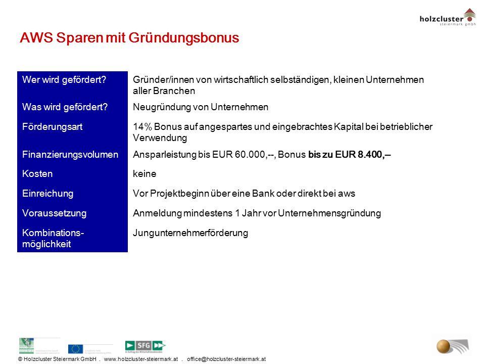 © Holzcluster Steiermark GmbH. www.holzcluster-steiermark.at. office@holzcluster-steiermark.at AWS Sparen mit Gründungsbonus Wer wird gefördert?Gründe