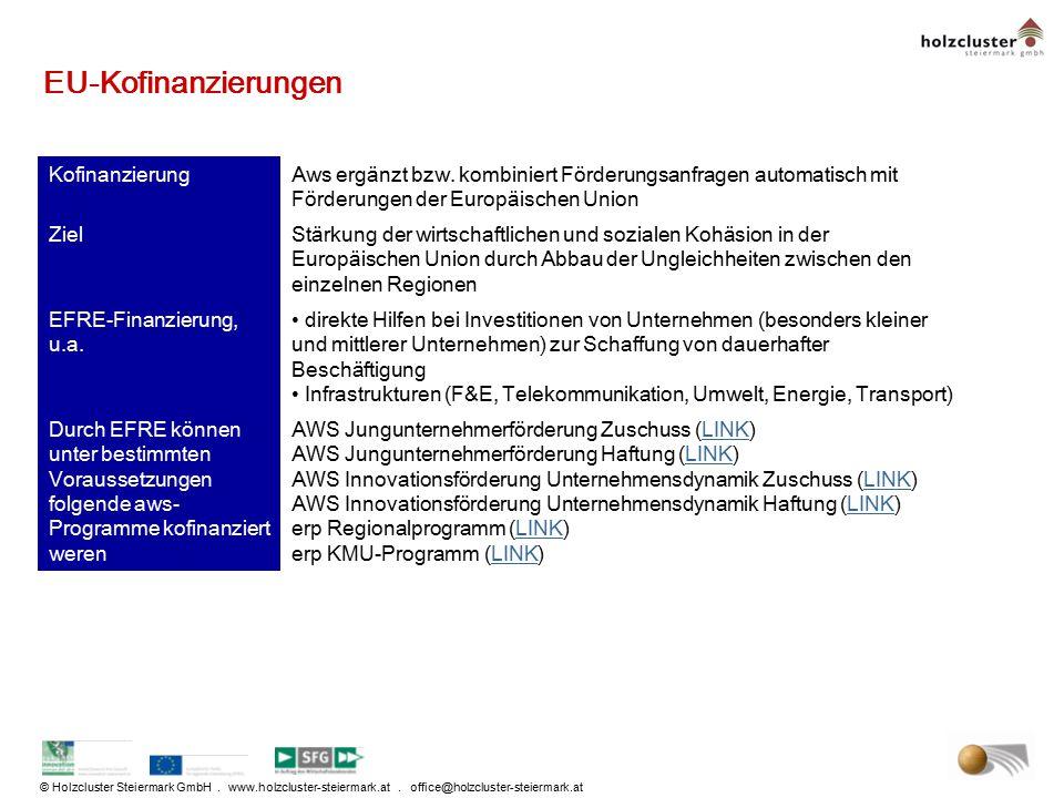 © Holzcluster Steiermark GmbH. www.holzcluster-steiermark.at. office@holzcluster-steiermark.at EU-Kofinanzierungen KofinanzierungAws ergänzt bzw. komb