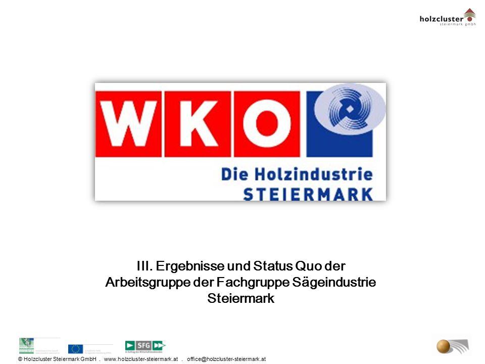 © Holzcluster Steiermark GmbH. www.holzcluster-steiermark.at. office@holzcluster-steiermark.at III. Ergebnisse und Status Quo der Arbeitsgruppe der Fa
