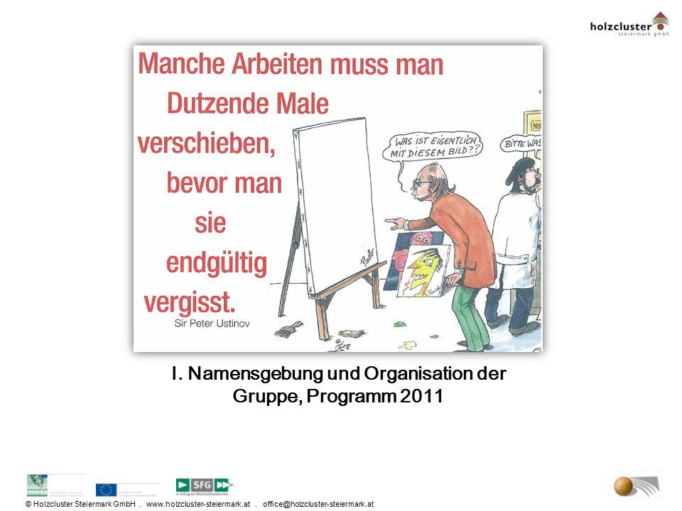© Holzcluster Steiermark GmbH. www.holzcluster-steiermark.at. office@holzcluster-steiermark.at I. Namensgebung und Organisation der Gruppe, Programm 2