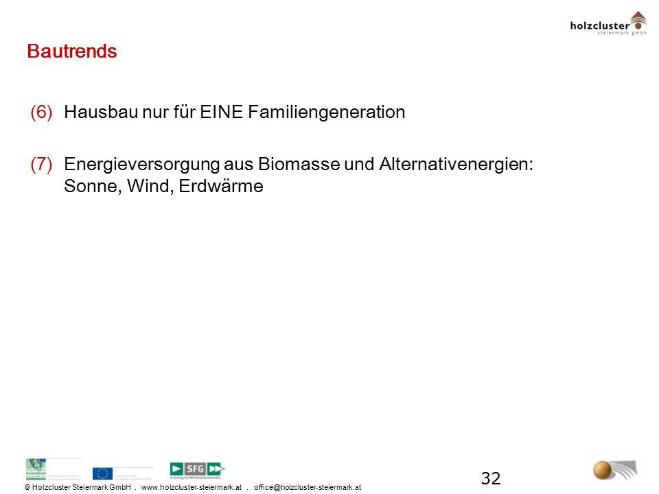 © Holzcluster Steiermark GmbH. www.holzcluster-steiermark.at. office@holzcluster-steiermark.at Bautrends (6)Hausbau nur für EINE Familiengeneration (7