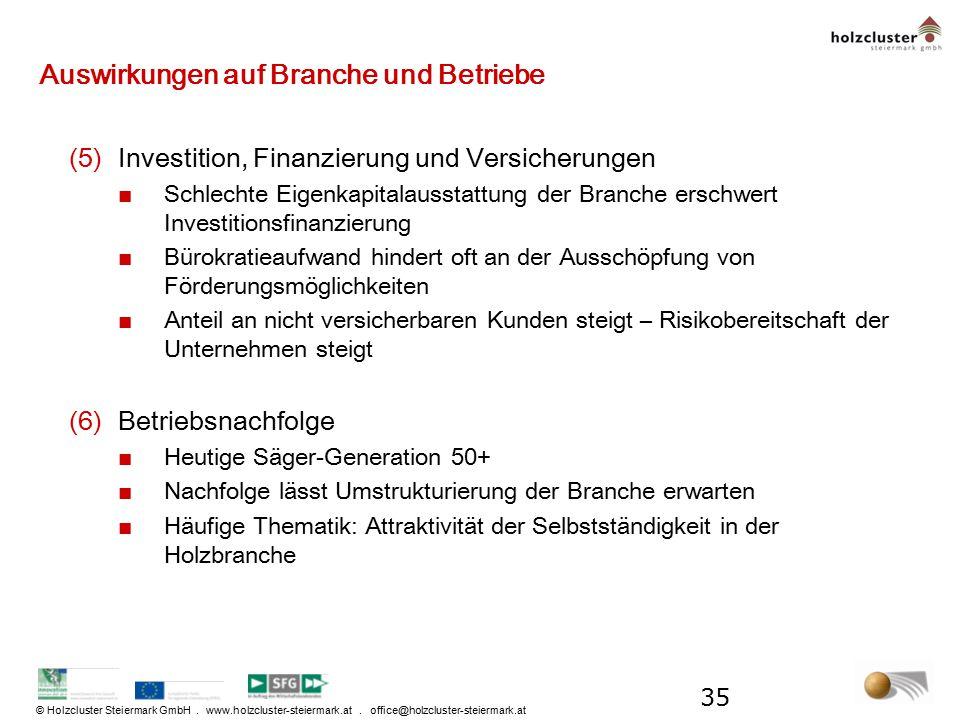 © Holzcluster Steiermark GmbH. www.holzcluster-steiermark.at. office@holzcluster-steiermark.at Auswirkungen auf Branche und Betriebe (5)Investition, F
