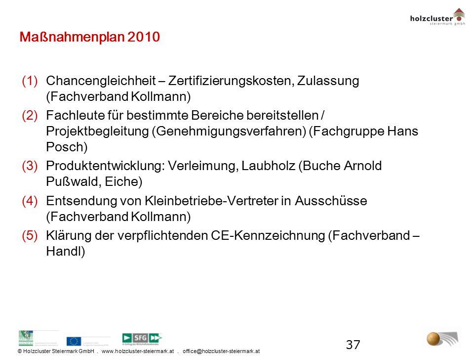 © Holzcluster Steiermark GmbH. www.holzcluster-steiermark.at. office@holzcluster-steiermark.at Maßnahmenplan 2010 (1)Chancengleichheit – Zertifizierun