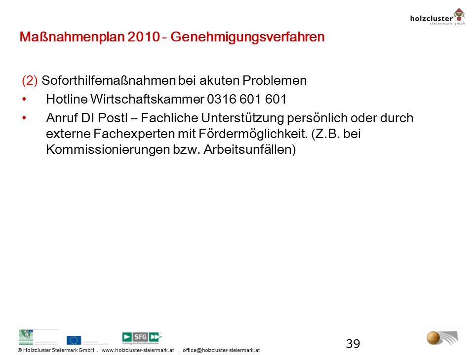 © Holzcluster Steiermark GmbH. www.holzcluster-steiermark.at. office@holzcluster-steiermark.at Maßnahmenplan 2010 - Genehmigungsverfahren (2) Soforthi