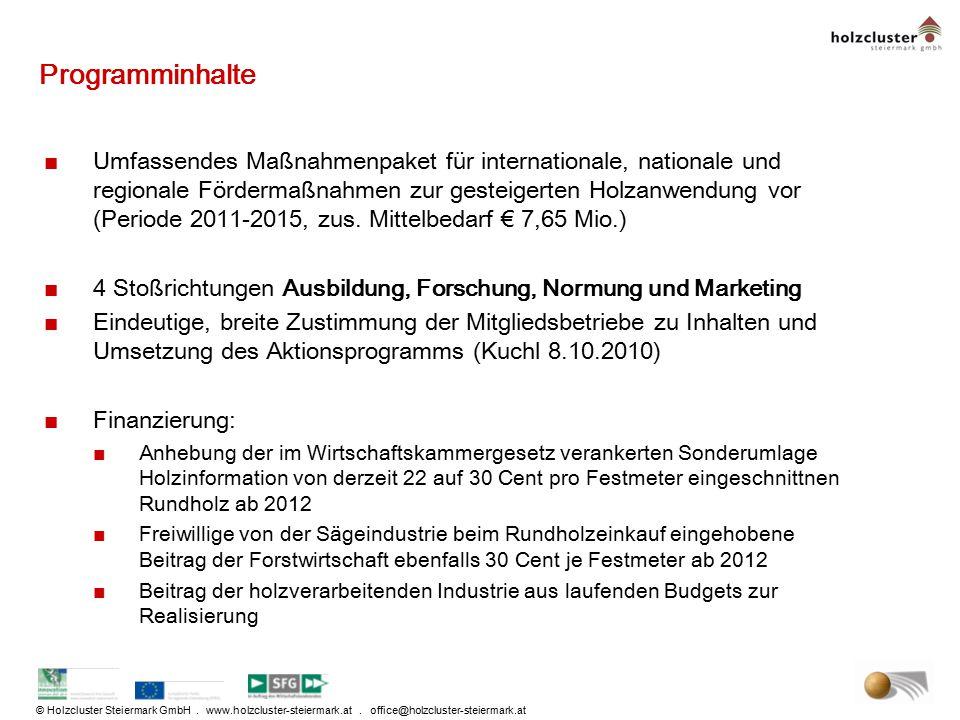 © Holzcluster Steiermark GmbH. www.holzcluster-steiermark.at. office@holzcluster-steiermark.at Programminhalte ■Umfassendes Maßnahmenpaket für interna