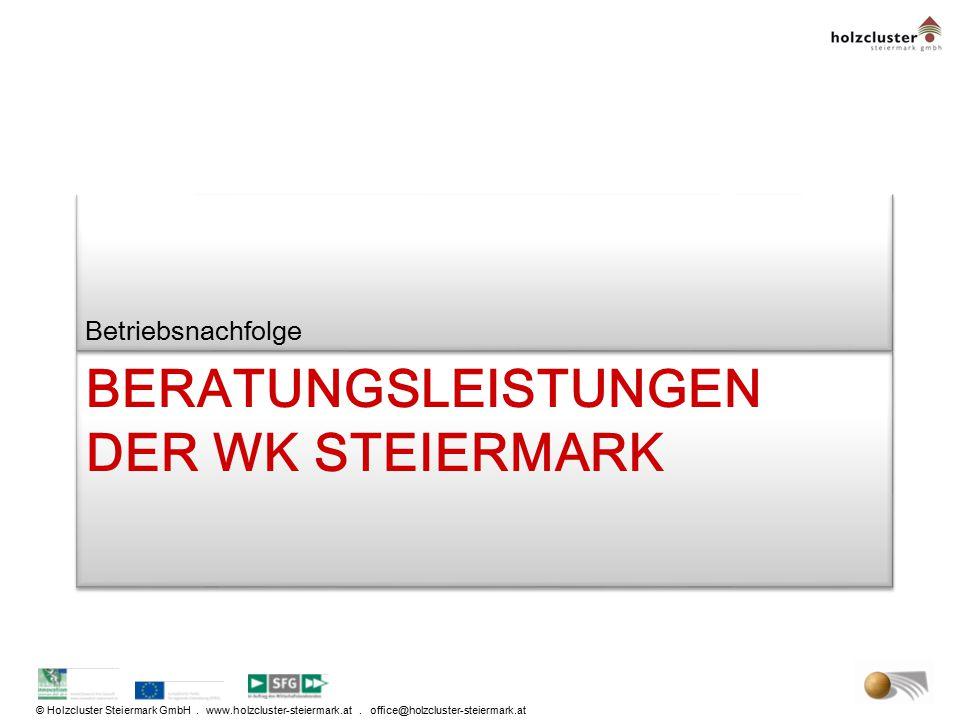 © Holzcluster Steiermark GmbH. www.holzcluster-steiermark.at. office@holzcluster-steiermark.at BERATUNGSLEISTUNGEN DER WK STEIERMARK Betriebsnachfolge