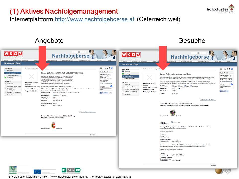 © Holzcluster Steiermark GmbH. www.holzcluster-steiermark.at. office@holzcluster-steiermark.at (1) Aktives Nachfolgemanagement Internetplattform http: