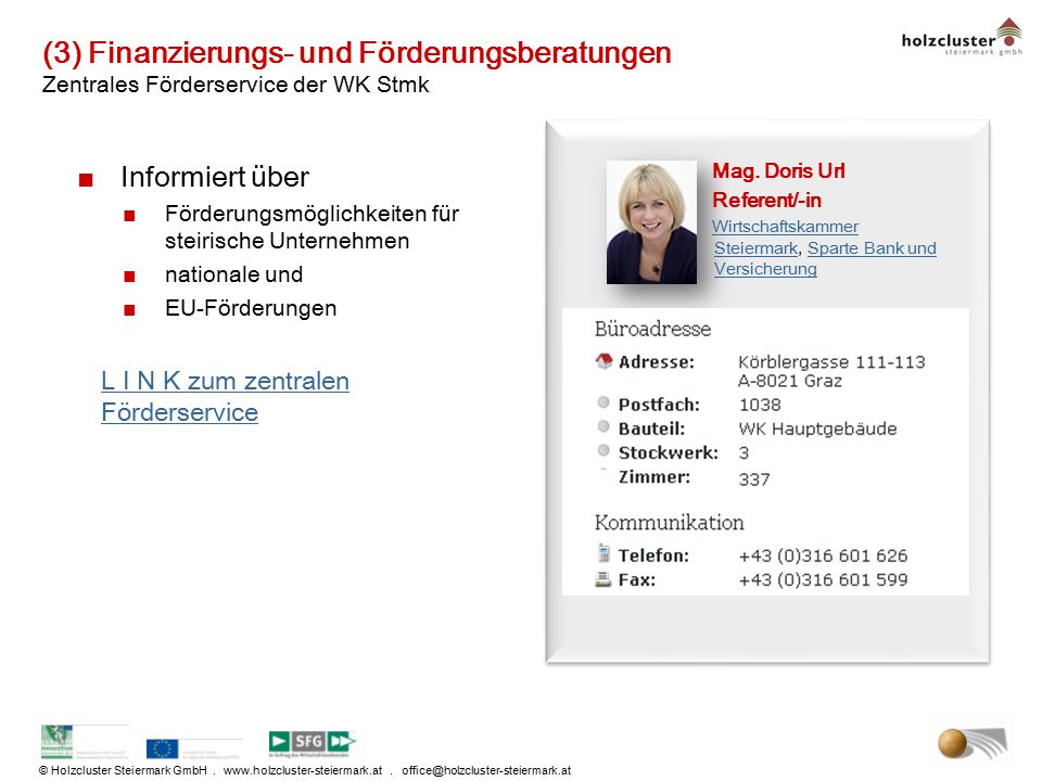 © Holzcluster Steiermark GmbH. www.holzcluster-steiermark.at. office@holzcluster-steiermark.at (3) Finanzierungs- und Förderungsberatungen Zentrales F