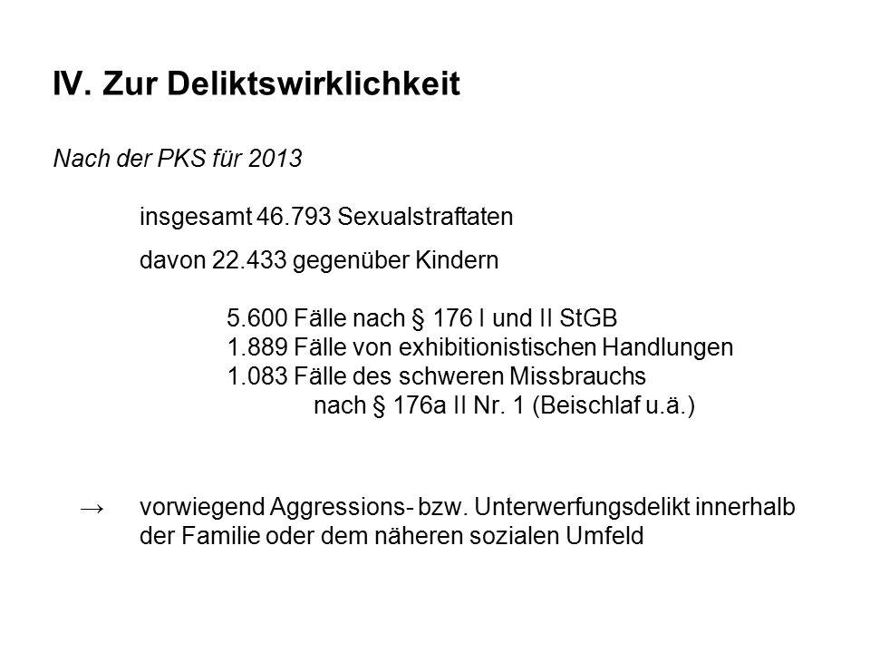 IV. Zur Deliktswirklichkeit Nach der PKS für 2013 insgesamt 46.793 Sexualstraftaten davon 22.433 gegenüber Kindern 5.600 Fälle nach § 176 I und II StG