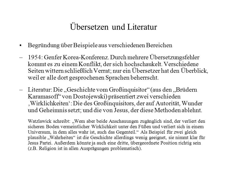 Übersetzen und Literatur Begründung über Beispiele aus verschiedenen Bereichen – 1954: Genfer Korea-Konferenz. Durch mehrere Übersetzungsfehler kommt
