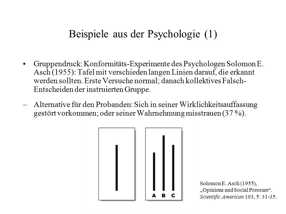 Beispiele aus der Psychologie (1) Gruppendruck: Konformitäts-Experimente des Psychologen Solomon E. Asch (1955): Tafel mit verschieden langen Linien d