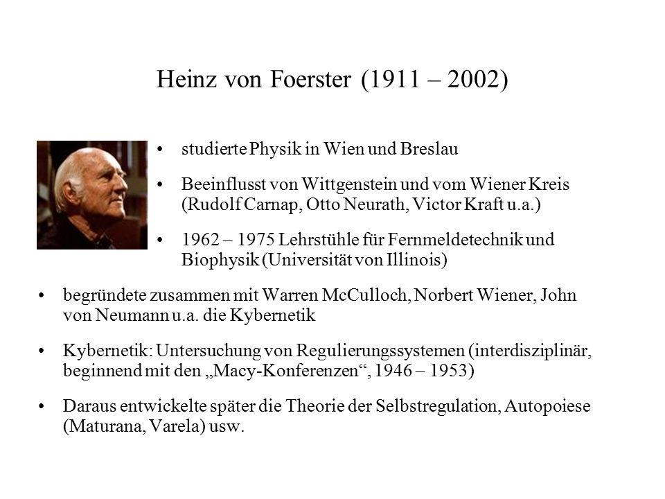 Heinz von Foerster (1911 – 2002) studierte Physik in Wien und Breslau Beeinflusst von Wittgenstein und vom Wiener Kreis (Rudolf Carnap, Otto Neurath,