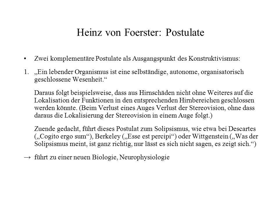 """Postulate 2.""""Ein beobachtender Organismus ist selbst Teil, Teilhaber und Teilnehmer seiner Beobachtungswelt. Bsp.: Eine Theorie der Hirnfunktionen muss die Tatsache bzw."""