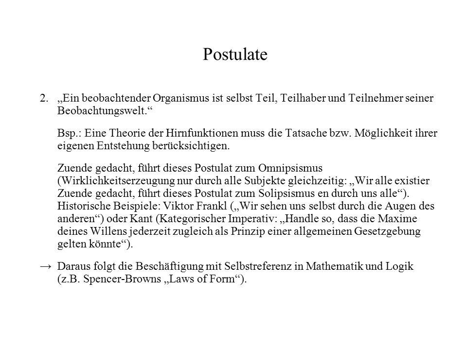 """Postulate 2.""""Ein beobachtender Organismus ist selbst Teil, Teilhaber und Teilnehmer seiner Beobachtungswelt."""" Bsp.: Eine Theorie der Hirnfunktionen mu"""