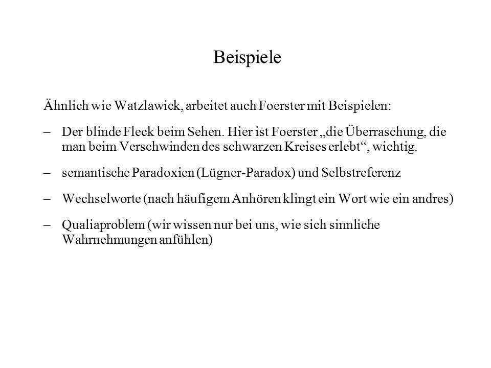 """Beispiele Ähnlich wie Watzlawick, arbeitet auch Foerster mit Beispielen: – Der blinde Fleck beim Sehen. Hier ist Foerster """"die Überraschung, die man b"""