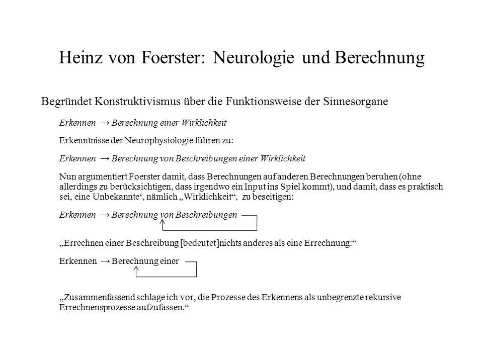 Heinz von Foerster: Neurologie und Berechnung Begründet Konstruktivismus über die Funktionsweise der Sinnesorgane Erkennen → Berechnung einer Wirklich