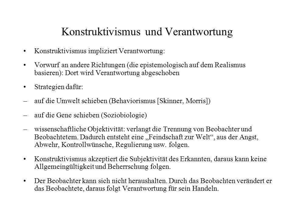 Heinz von Foerster – Kritik Typisch für den radikalen Konstruktivismus: aus banalen Beispielen werden enorm weitreichende Schlüsse gezogen Bsp.