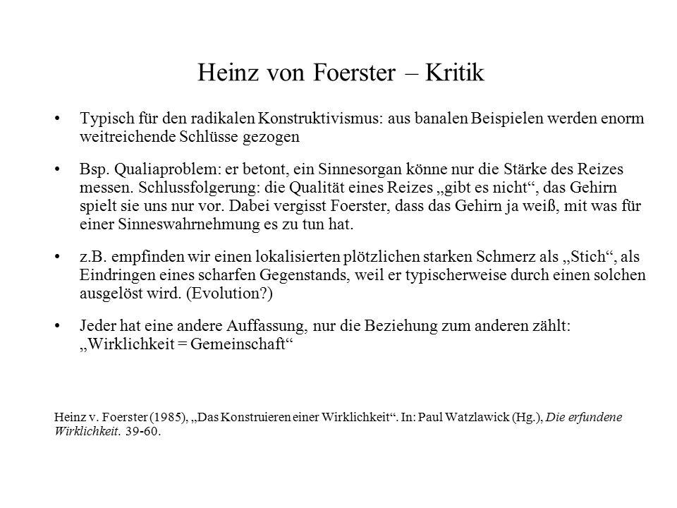 Heinz von Foerster – Kritik Typisch für den radikalen Konstruktivismus: aus banalen Beispielen werden enorm weitreichende Schlüsse gezogen Bsp. Qualia