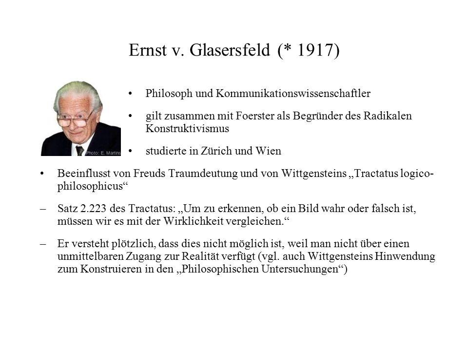 Ernst v. Glasersfeld (* 1917) Philosoph und Kommunikationswissenschaftler gilt zusammen mit Foerster als Begründer des Radikalen Konstruktivismus stud