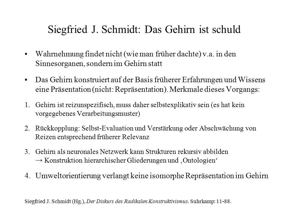 Siegfried J. Schmidt: Das Gehirn ist schuld Wahrnehmung findet nicht (wie man früher dachte) v.a. in den Sinnesorganen, sondern im Gehirn statt Das Ge