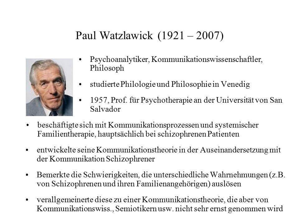 Paul Watzlawick (1921 – 2007) Psychoanalytiker, Kommunikationswissenschaftler, Philosoph studierte Philologie und Philosophie in Venedig 1957, Prof. f