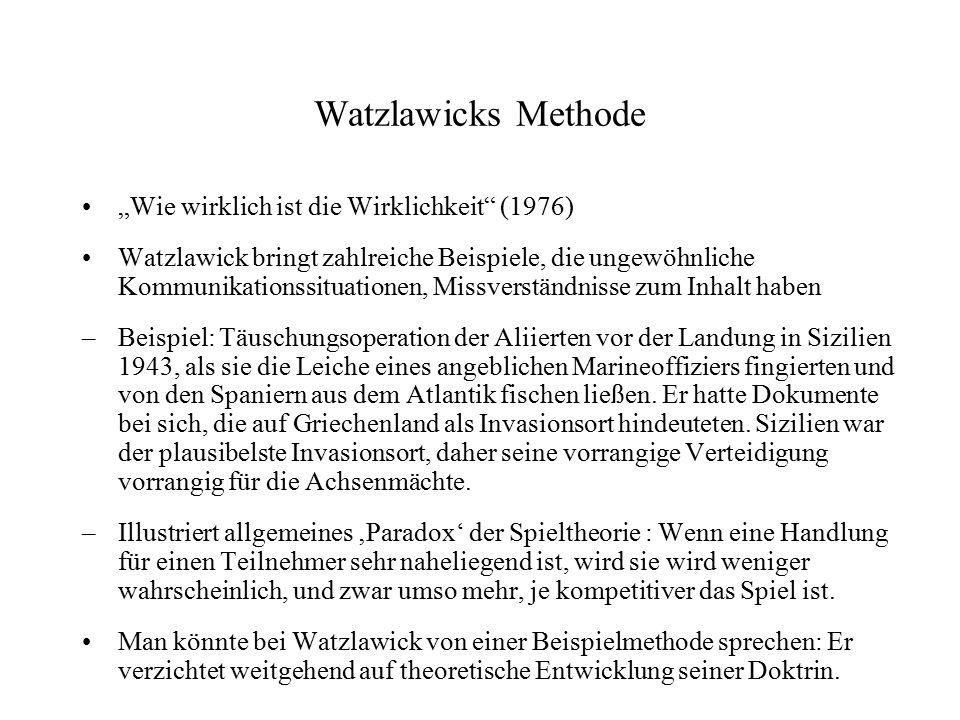 """Watzlawicks Methode """"Wie wirklich ist die Wirklichkeit"""" (1976) Watzlawick bringt zahlreiche Beispiele, die ungewöhnliche Kommunikationssituationen, Mi"""