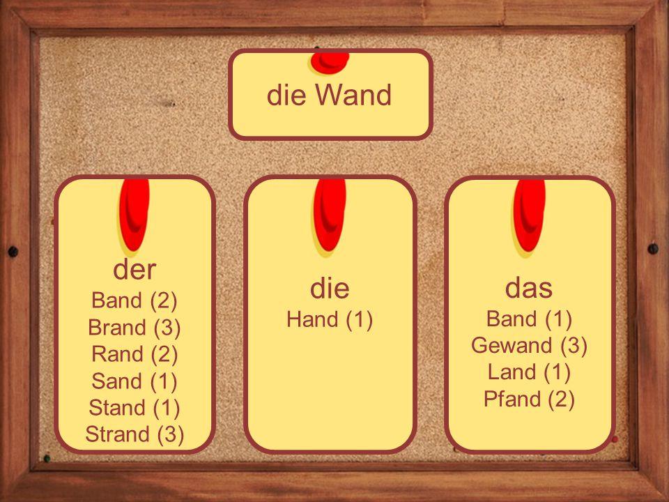 die Hand (1) der Band (2) Brand (3) Rand (2) Sand (1) Stand (1) Strand (3) die Wand das Band (1) Gewand (3) Land (1) Pfand (2)