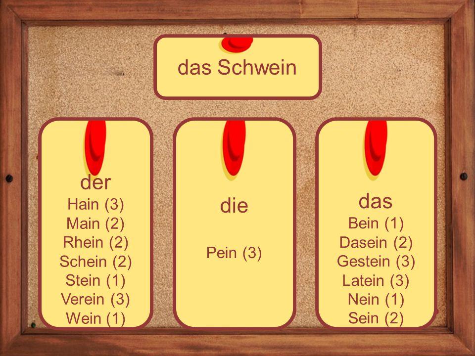 die Pein (3) der Hain (3) Main (2) Rhein (2) Schein (2) Stein (1) Verein (3) Wein (1) das Schwein das Bein (1) Dasein (2) Gestein (3) Latein (3) Nein (1) Sein (2)