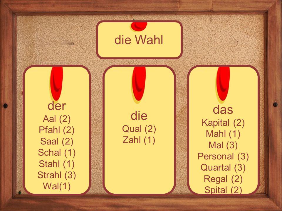 die Qual (2) Zahl (1) der Aal (2) Pfahl (2) Saal (2) Schal (1) Stahl (1) Strahl (3) Wal(1) die Wahl das Kapital (2) Mahl (1) Mal (3) Personal (3) Quartal (3) Regal (2) Spital (2)