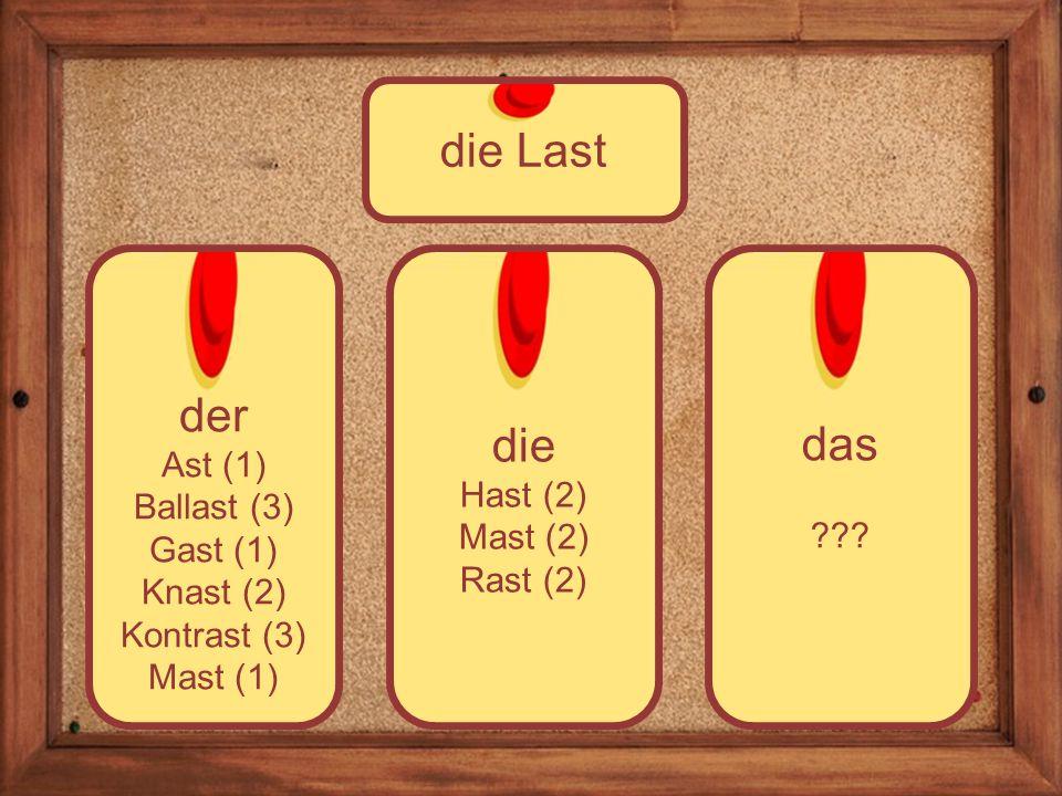 die Hast (2) Mast (2) Rast (2) der Ast (1) Ballast (3) Gast (1) Knast (2) Kontrast (3) Mast (1) die Last das