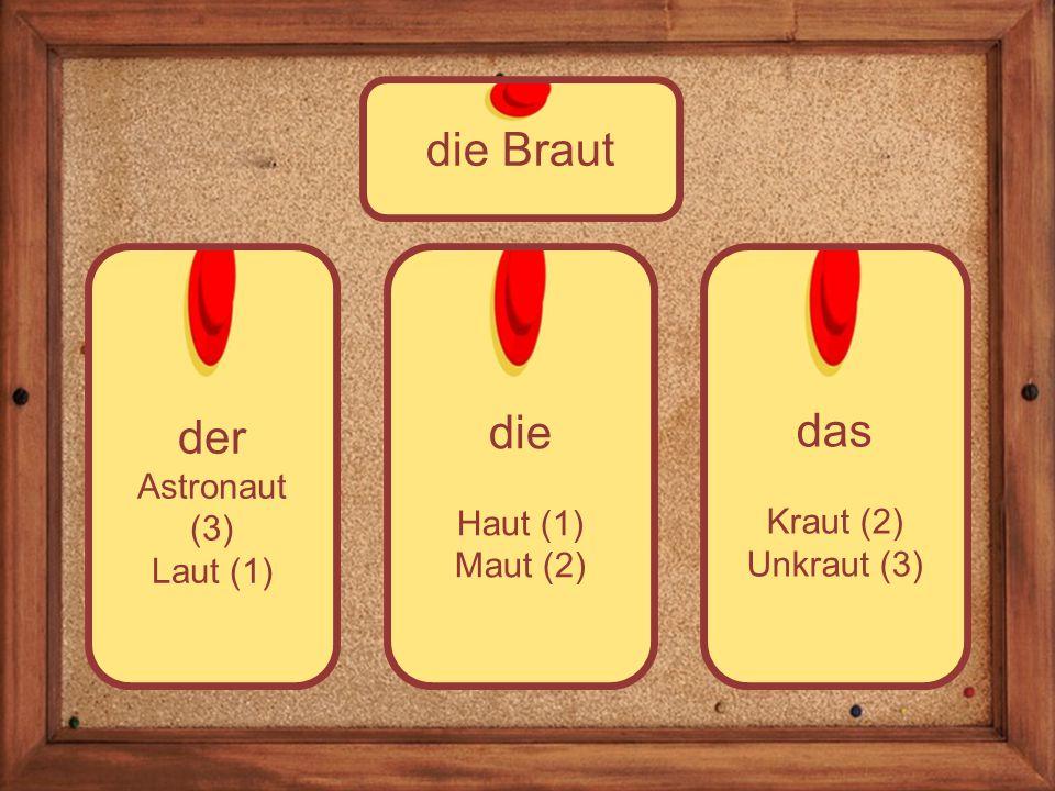 die Haut (1) Maut (2) der Astronaut (3) Laut (1) die Braut das Kraut (2) Unkraut (3)