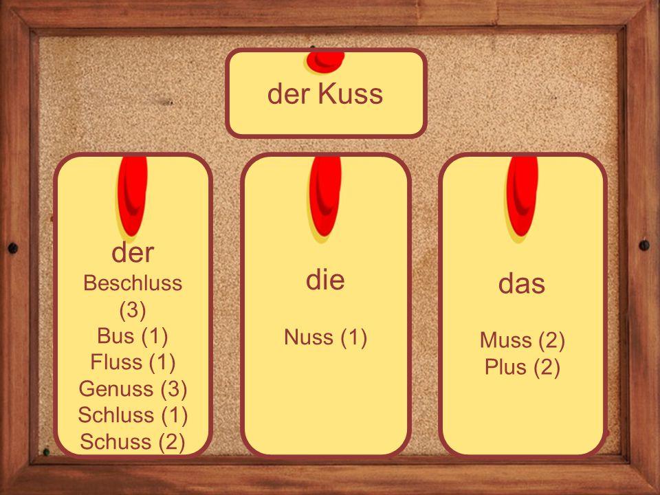 die Nuss (1) der Beschluss (3) Bus (1) Fluss (1) Genuss (3) Schluss (1) Schuss (2) der Kuss das Muss (2) Plus (2)