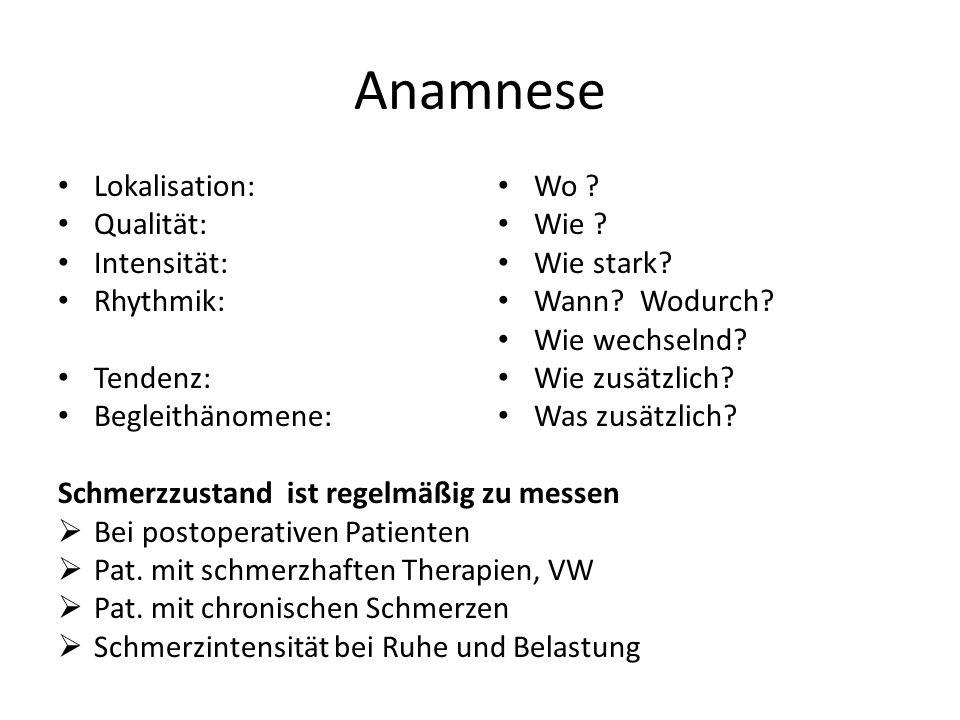 Anamnese Lokalisation: Qualität: Intensität: Rhythmik: Tendenz: Begleithänomene: Schmerzzustand ist regelmäßig zu messen  Bei postoperativen Patiente