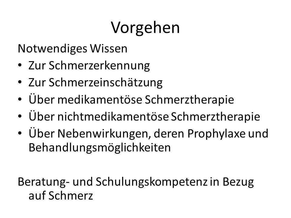 Vorgehen Notwendiges Wissen Zur Schmerzerkennung Zur Schmerzeinschätzung Über medikamentöse Schmerztherapie Über nichtmedikamentöse Schmerztherapie Üb