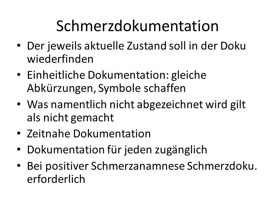 Schmerzdokumentation Der jeweils aktuelle Zustand soll in der Doku wiederfinden Einheitliche Dokumentation: gleiche Abkürzungen, Symbole schaffen Was