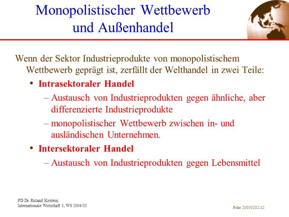 PD Dr. Roland Kirstein: Internationale Wirtschaft 1, WS 2004/05 Folie 20050202-12 Wenn der Sektor Industrieprodukte von monopolistischem Wettbewerb ge