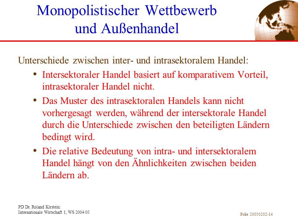 PD Dr. Roland Kirstein: Internationale Wirtschaft 1, WS 2004/05 Folie 20050202-14 Unterschiede zwischen inter- und intrasektoralem Handel: Intersektor