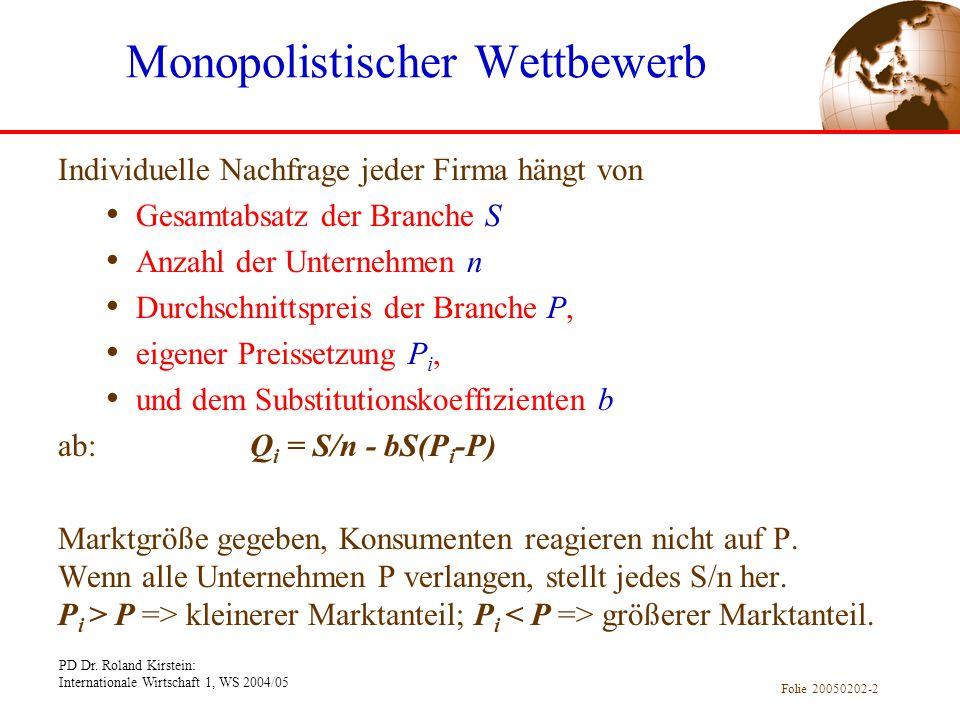 PD Dr. Roland Kirstein: Internationale Wirtschaft 1, WS 2004/05 Folie 20050202-2 Individuelle Nachfrage jeder Firma hängt von Gesamtabsatz der Branche