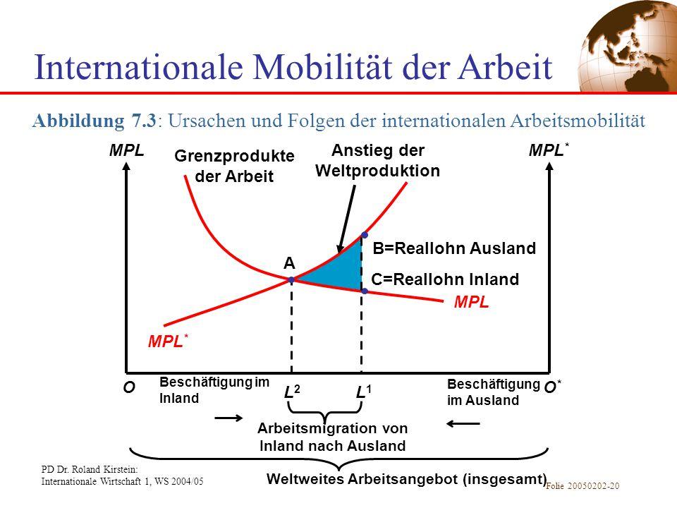 PD Dr. Roland Kirstein: Internationale Wirtschaft 1, WS 2004/05 Folie 20050202-20 L2L2 Internationale Mobilität der Arbeit Abbildung 7.3: Ursachen und