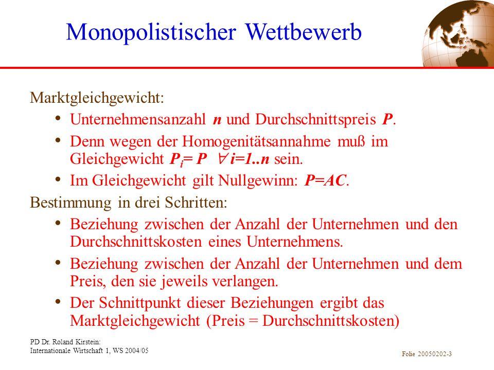 PD Dr. Roland Kirstein: Internationale Wirtschaft 1, WS 2004/05 Folie 20050202-3 Marktgleichgewicht: Unternehmensanzahl n und Durchschnittspreis P. De