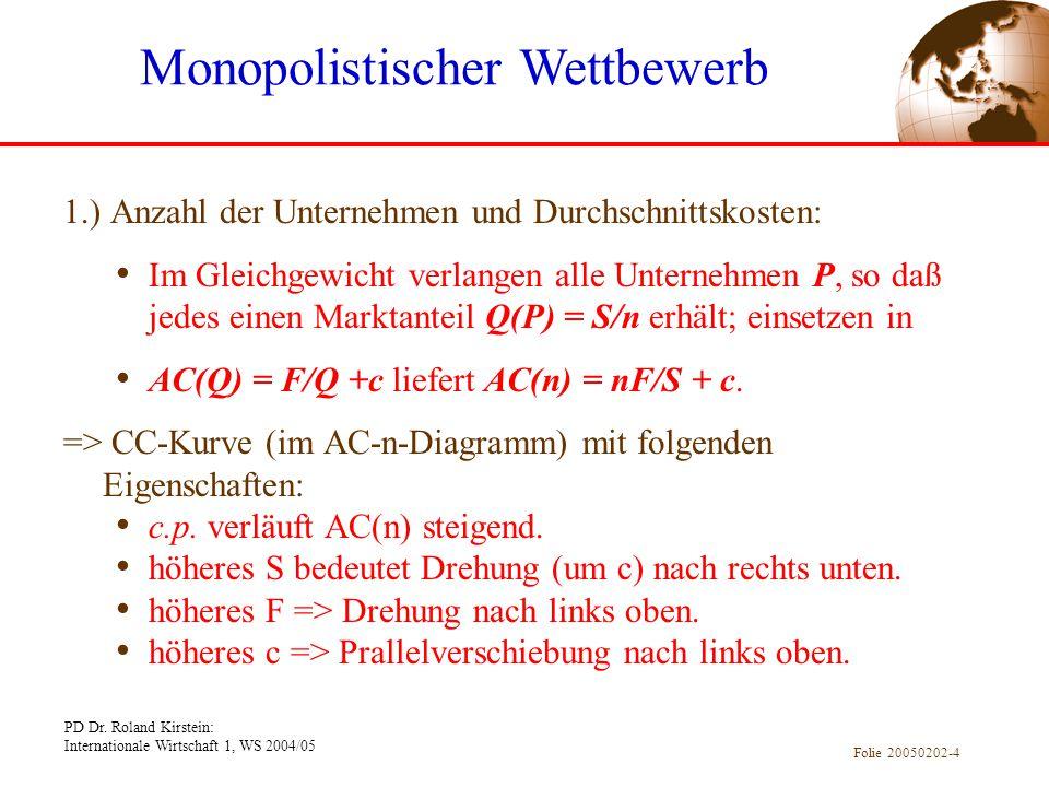 PD Dr. Roland Kirstein: Internationale Wirtschaft 1, WS 2004/05 Folie 20050202-4 1.) Anzahl der Unternehmen und Durchschnittskosten: Im Gleichgewicht