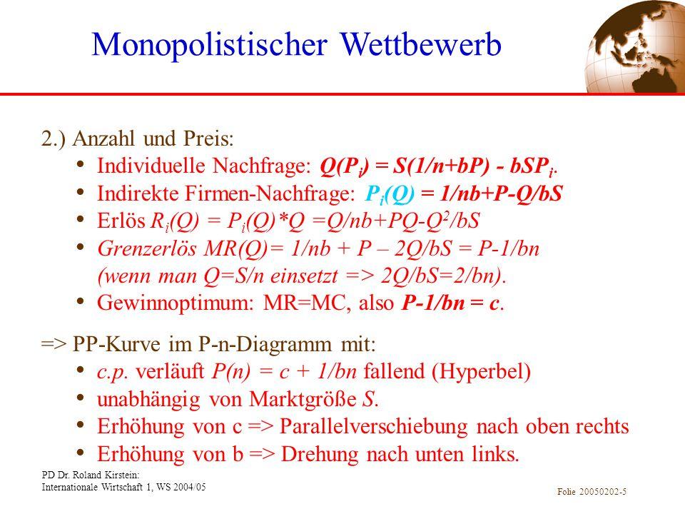 PD Dr. Roland Kirstein: Internationale Wirtschaft 1, WS 2004/05 Folie 20050202-5 2.) Anzahl und Preis: Individuelle Nachfrage: Q(P i ) = S(1/n+bP) - b