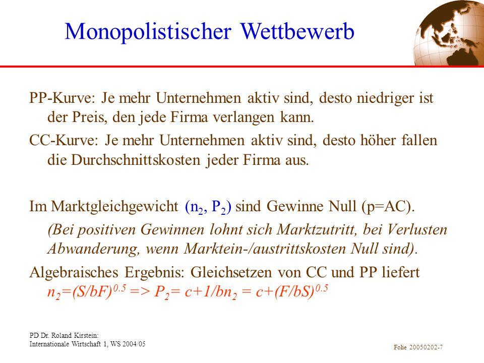 PD Dr. Roland Kirstein: Internationale Wirtschaft 1, WS 2004/05 Folie 20050202-7 PP-Kurve: Je mehr Unternehmen aktiv sind, desto niedriger ist der Pre